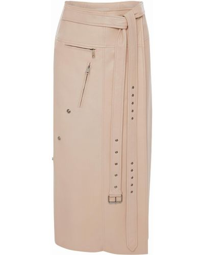 Розовая кожаная юбка с поясом Alexander Mcqueen