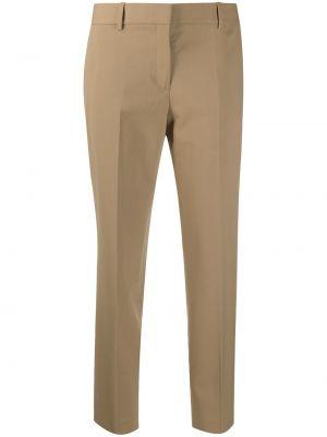 Деловые шерстяные коричневые укороченные брюки Theory
