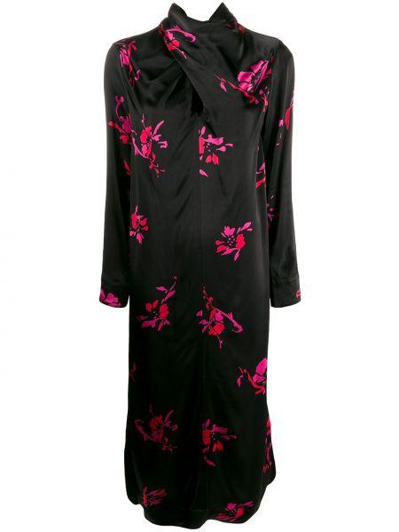 Платье с цветочным принтом черное Ganni