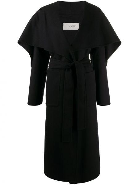 Черное длинное пальто с капюшоном с запахом Pringle Of Scotland