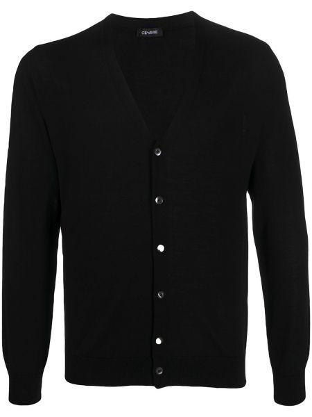 С рукавами шерстяной черный кардиган с V-образным вырезом Cenere Gb