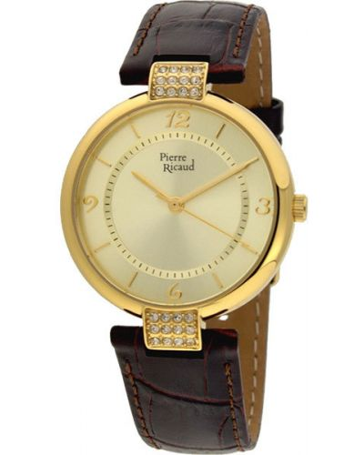 Часы на кожаном ремешке кварцевые водонепроницаемые Pierre Ricaud
