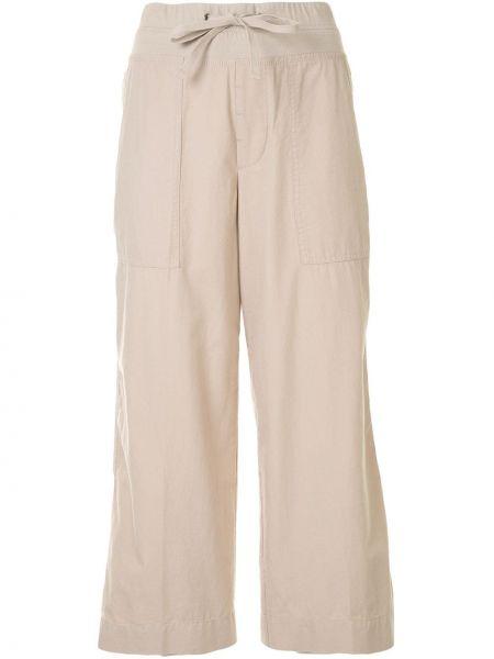 Хлопковые укороченные брюки с карманами свободного кроя с высокой посадкой James Perse