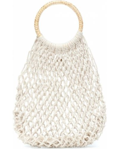 Biała torebka na plażę bawełniana Kayu