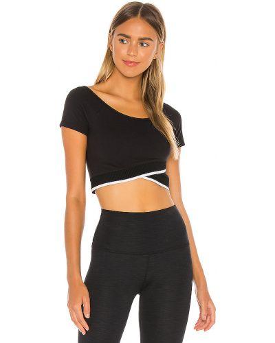Czarny nylon crop top dwustronny na jogę Beyond Yoga