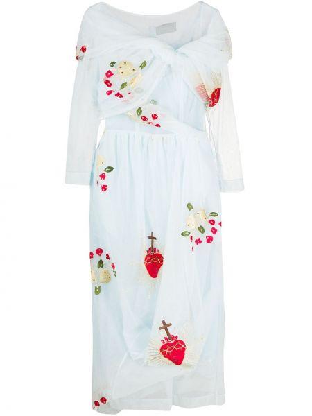 Платье миди из фатина с вышивкой на молнии с вырезом Simone Rocha