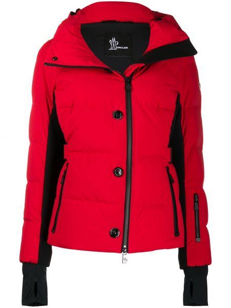 Пуховая красная длинная куртка для полных Moncler Grenoble