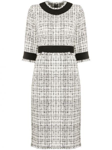 Шерстяное белое платье миди круглое Dolce & Gabbana