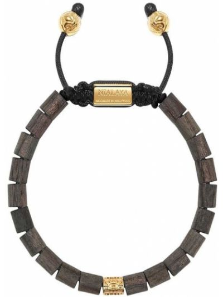 Czarna złota bransoletka ze złota pozłacana Nialaya Jewelry