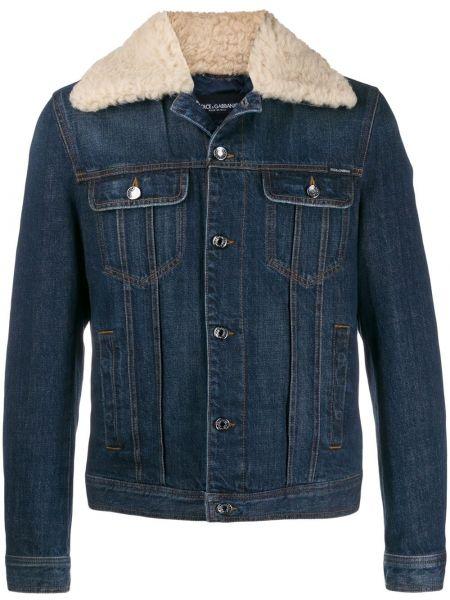 Джинсовая куртка с мехом - синяя Dolce & Gabbana