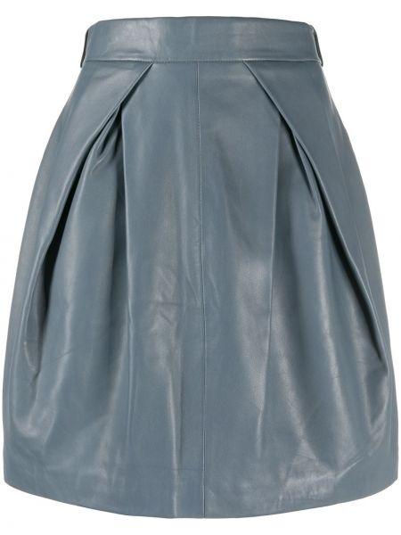 Серая с завышенной талией юбка из овчины Alberta Ferretti