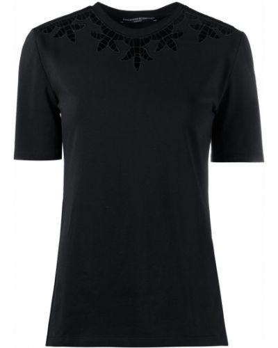 Прямая черная футболка с вырезом Ermanno Scervino