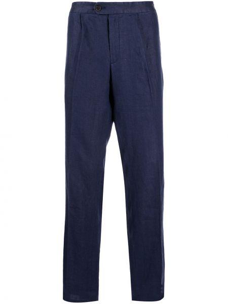 Niebieskie lniane lniane spodnie Gieves & Hawkes