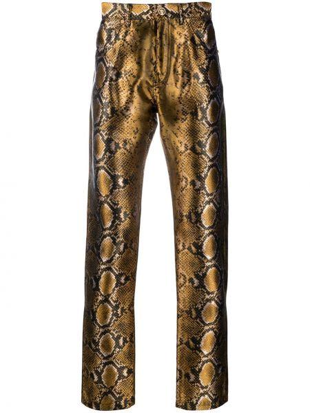 Spodni czarny klasyczne spodnie z kieszeniami metal Versace