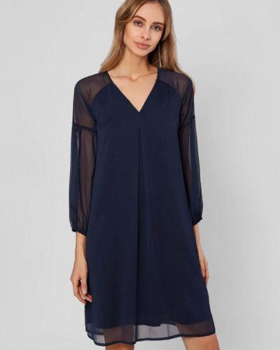 Прямое синее платье Pompa