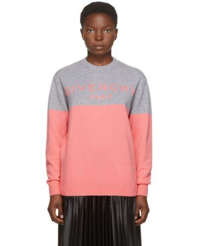 Z rękawami różowy kaszmir sweter z kołnierzem Givenchy