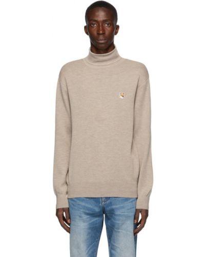 Beżowy sweter wełniany z haftem Maison Kitsune