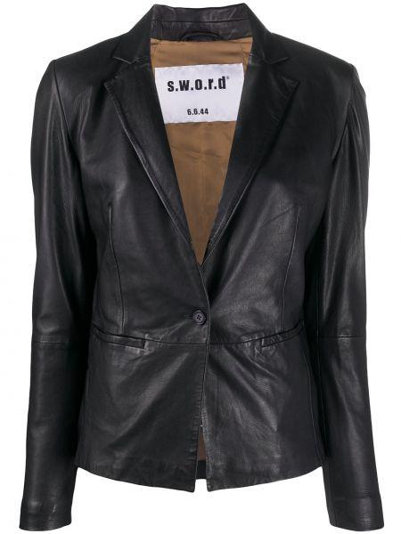 Однобортный черный удлиненный пиджак с карманами S.w.o.r.d 6.6.44