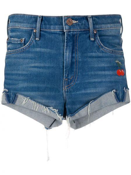 Джинсовые шорты с карманами с вышивкой Mother