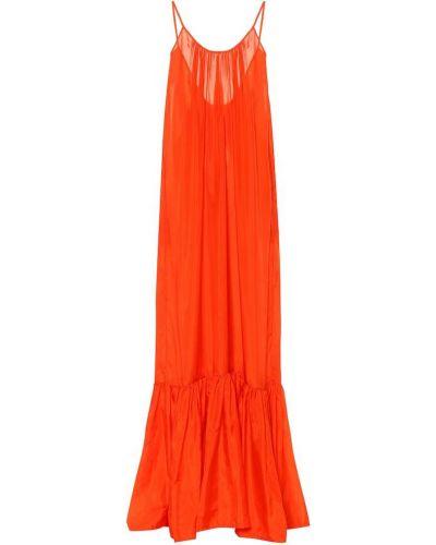 Оранжевое вечернее пляжное сатиновое вечернее платье Kalita
