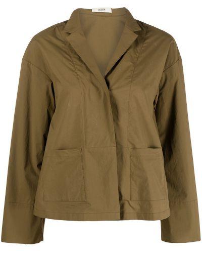 Хлопковый коричневый удлиненный пиджак милитари Odeeh