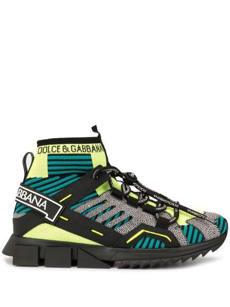 Wysoki sneakersy skórzane sznurowane Dolce And Gabbana