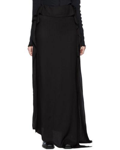 Z paskiem czarny asymetryczny spódnica maxi z krepy Ann Demeulemeester