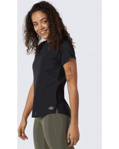 Черная футболка с короткими рукавами сетчатая New Balance