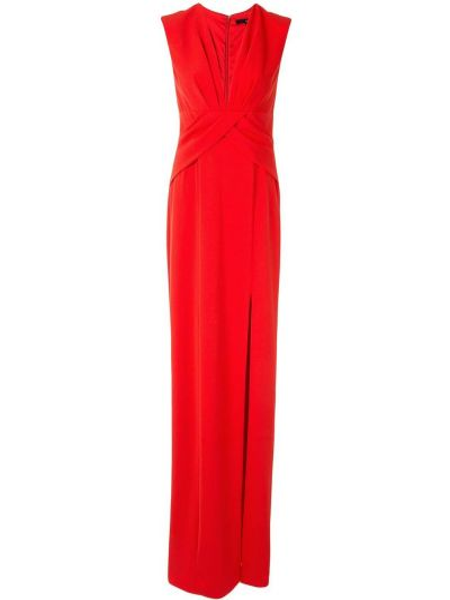 С рукавами красное вечернее платье с запахом Jay Godfrey