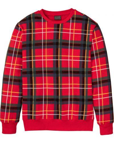 Красная блузка на резинке в клетку Bonprix