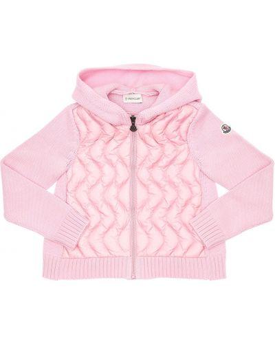 С рукавами розовая нейлоновая куртка с капюшоном с капюшоном Moncler