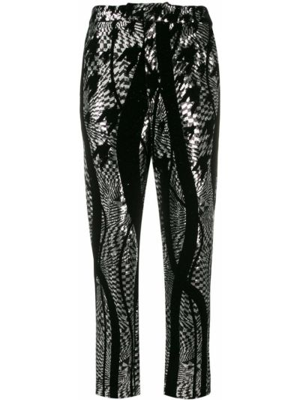 Czarne spodnie z paskiem z jedwabiu Halpern