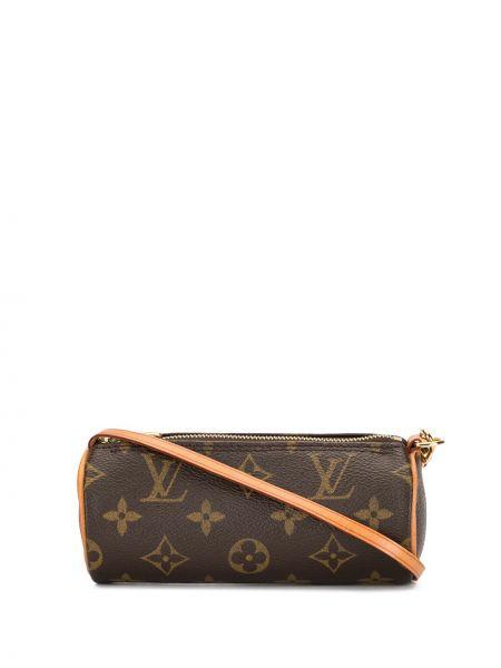Коричневая кожаная маленькая сумка на молнии Louis Vuitton