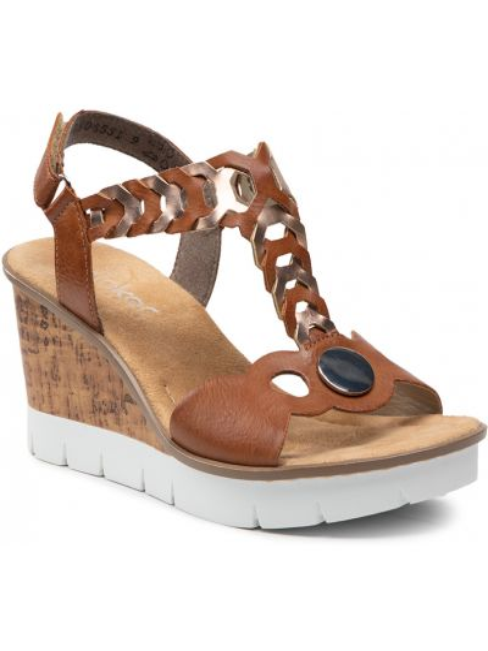 Sandały casual - brązowe Rieker