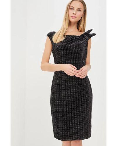 Велюровое черное вечернее платье без рукавов City Goddess