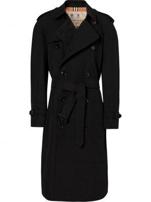 Черное длинное пальто с поясом на молнии двубортное Burberry