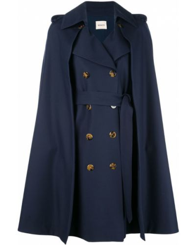 Синее пальто с капюшоном без рукавов Khaite