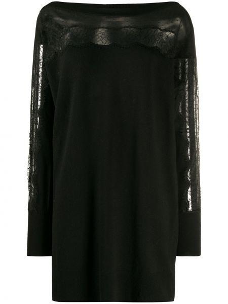 Черное прямое платье с вырезом со вставками Twin-set