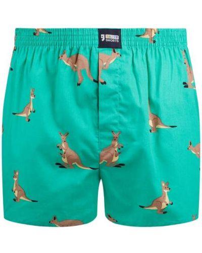 Majtki szorty bawełniane turkusowe zapinane na guziki Happy Shorts
