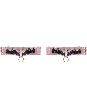 Różowa satynowa podwiązka z haftem Bordelle