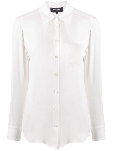 Белая прямая рубашка с воротником с карманами Paule Ka