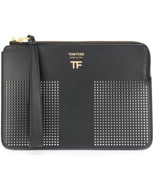 Черная кожаная сумка с перфорацией круглая из натуральной кожи Tom Ford