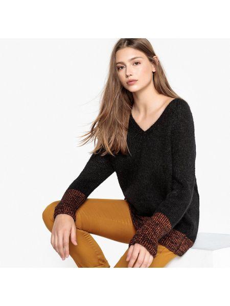 С рукавами черный пуловер с V-образным вырезом из мохера Sud Express