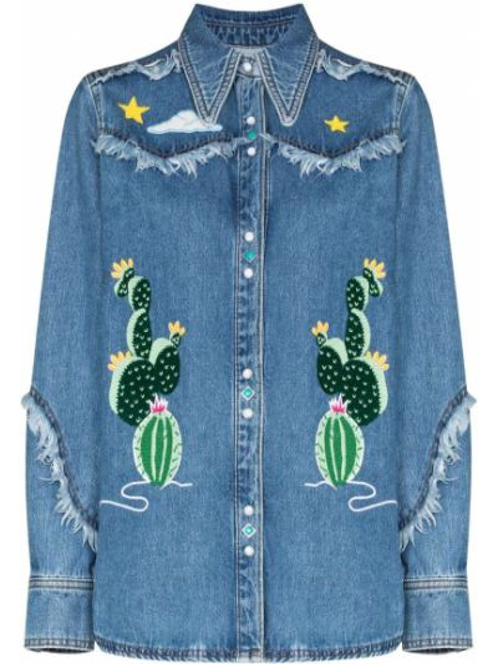 Акриловая синяя джинсовая рубашка с вышивкой с воротником Mira Mikati