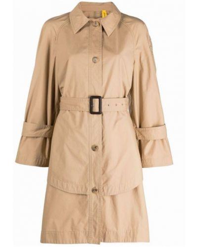 Beżowy płaszcz z paskiem bawełniany Moncler