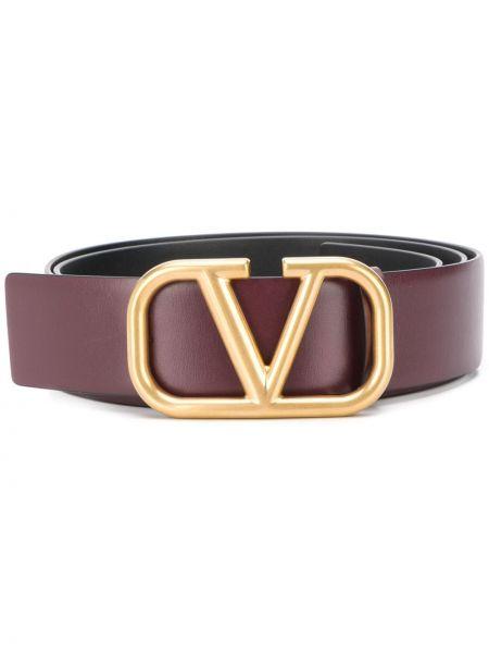 Pasek burgundia skórzany Valentino