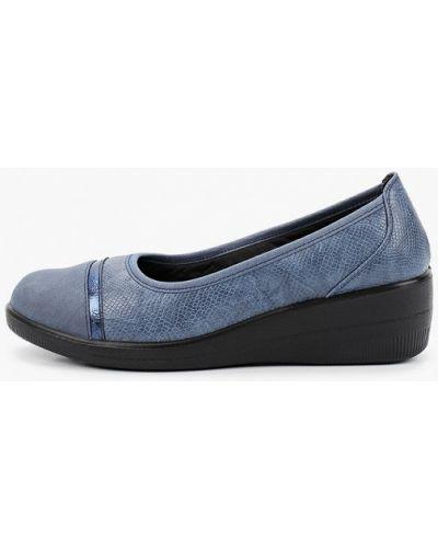 Кожаные синие туфли закрытые Exquily