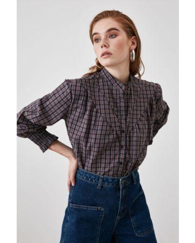 Fioletowa koszula bawełniana Trendyol