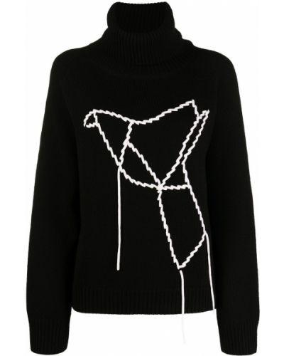 Шерстяной черный джемпер с вышивкой в рубчик Sminfinity