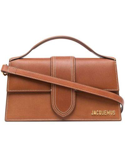 Золотистая кожаная коричневая сумка-тоут Jacquemus